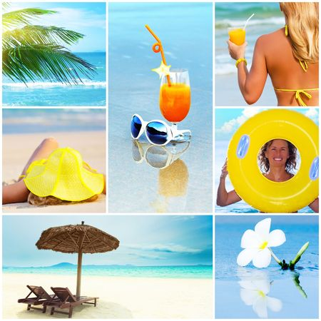 Beautiful summer collage made from tropical beach photos