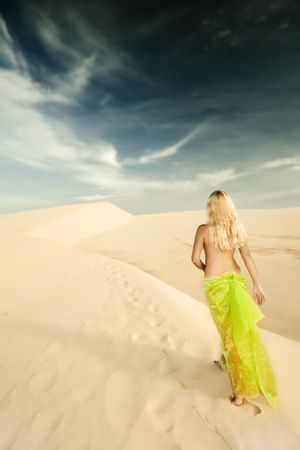 Nude woman walking in the middle of desert photo