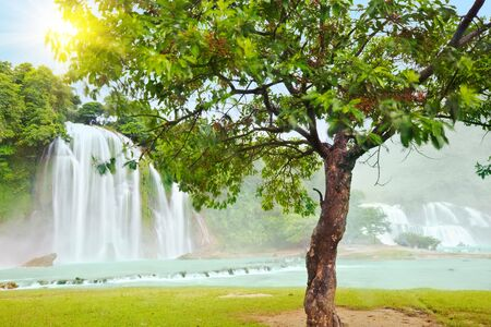 Detian and Ban Gioc waterfall along Vietnamese and Chinese board. Stock Photo - 5995320