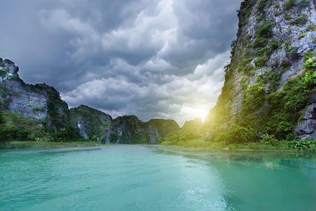 Karst formation around river. Tam coc national park. Vietnam