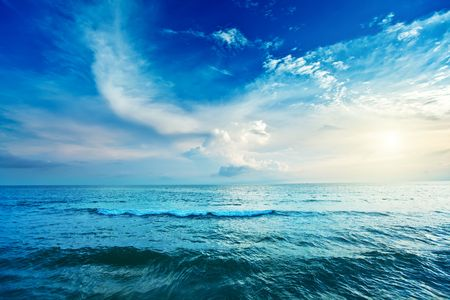 Blue clean sea and cloudy sky landscape
