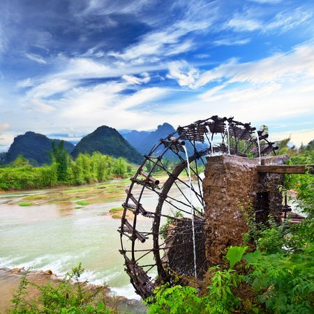 wood agricultural: Bamboo water wheel. The use of water power for irrigation. Vietnam
