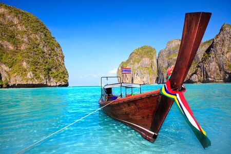 Traditional longtail boat at Maya bay. Thailand