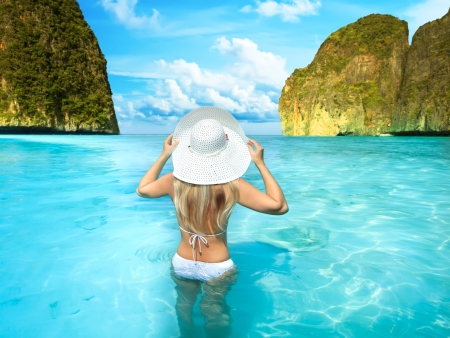 Rear view of woman at Maya bay. Thailand photo