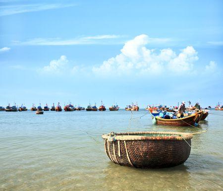 ne: Mui Ne fishing village with a lot of boat