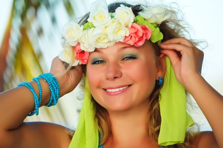 Portrait of a smiling Hawaiian girl with flowers Stock Photo - 6632178