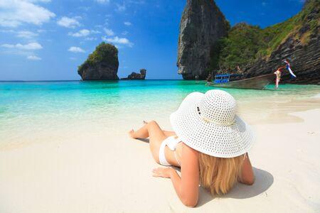 florida beach: Beautiful woman on the beach. Phi phi island. Thailand