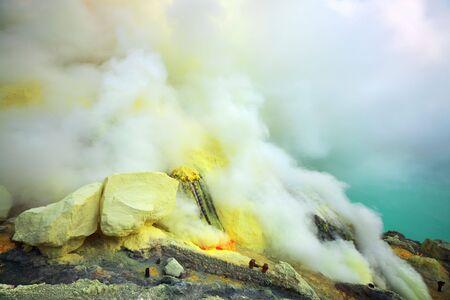 Sulfurous fumaroles in Ijen crater. Java. Indonesia photo