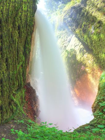 merged: Blawan waterfall. Java. Indonesia. Merged from 2 images