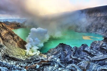 Crater of volcano Ijen. Java. Indonesia.