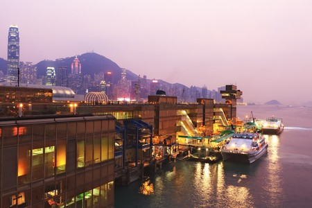 China Hong Kong harbor ferry at night time Stock Photo - 7258719