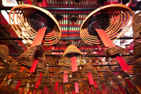 Incense Coils in Man Mo temple. Hong Kong. Stock Photo - 13768121