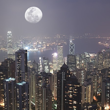 Skyline of Hong Kong City from Victoria Peak Stock Photo - 7424301