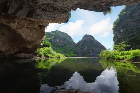tam: Beautiful view on the mountain from the grotto. Tam coc national park. Vietnam