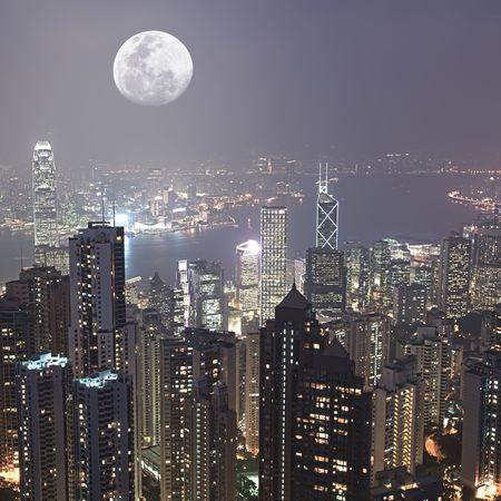 nightscene: Skyline of Hong Kong City from Victoria Peak