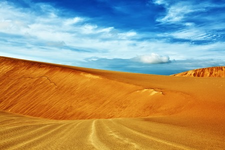 day time: Sandy desert at day time. Vietnam. Mui ne