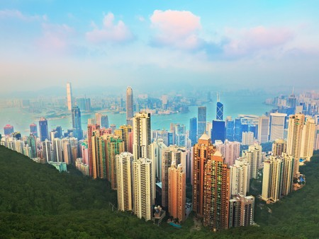 Skyline of Hongkong City from Victoria Peak Stock Photo - 7544837