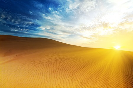 Sandy desert at sunrise time. Vietnam. Mui ne photo