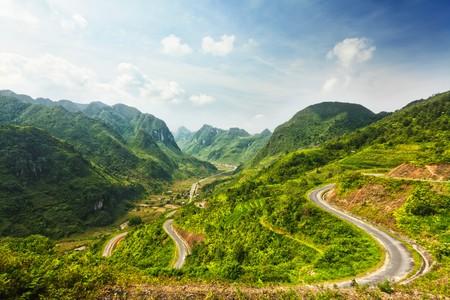 ha giang: Mountain road in beautiful valley. Ha Giang province. Vietnam