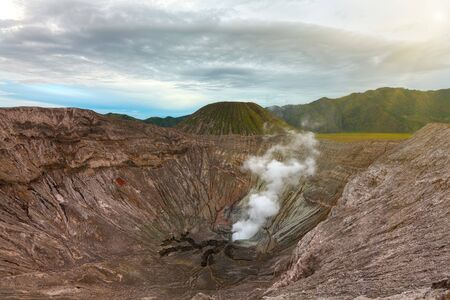 steam mouth: Crater of the volcano Bromo. Java. Indonesia Stock Photo