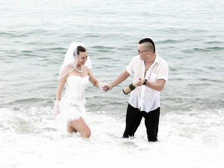 Celebration of wedding in the tropical sea photo