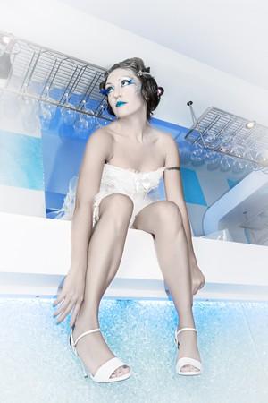 Woman as a ice maiden. Snow queen photo