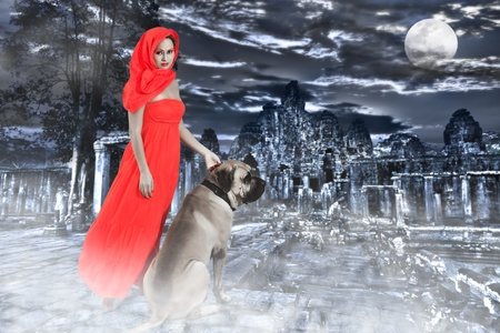 Mysterious image of woman with dog in ruin photo