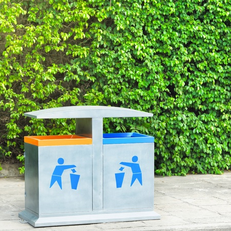 Two recycling bin on the beach. Environmental protection Stock Photo - 8620376