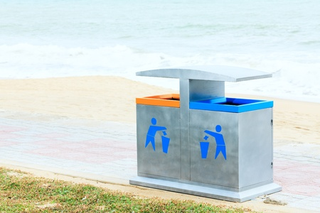 Two recycling bin on the beach. Environmental protection Stock Photo - 8620377