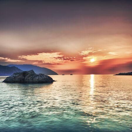 ocean view: Sunrise over the sea. Con Dao. Vietnam