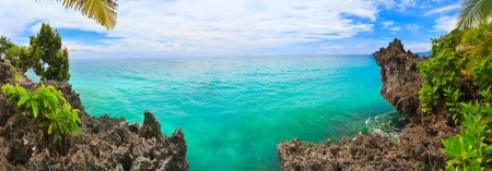 Panorama of tropical lagoon. Bohol. Philippines