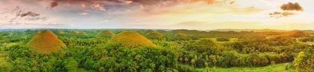 Panorama of The Chocolate Hills. Bohol, Philippines 免版税图像