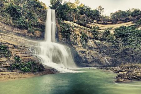 Beautiful waterfall vintage style. Bohol. Philippines