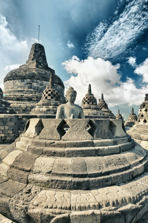 indonesia culture: Buddha statue in stupa. Borobudur. Java. Indonesia