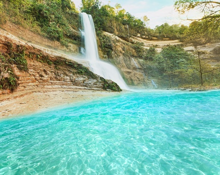 Beautiful waterfall vintage style. Bohol. Philippines photo