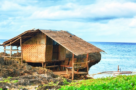 bohol: Fisherman hut on the coast. Bohol. Philippines