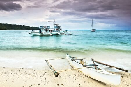 phillipine: Traditional Philippine boat in the tropical lagoon
