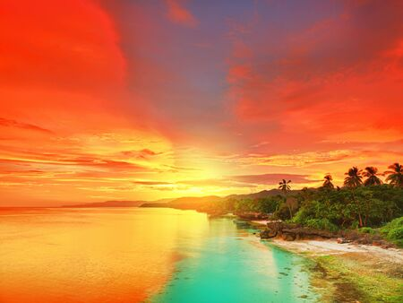 Beautiful seascape. Coastline at sunset time. Philippines Stock Photo - 9303466