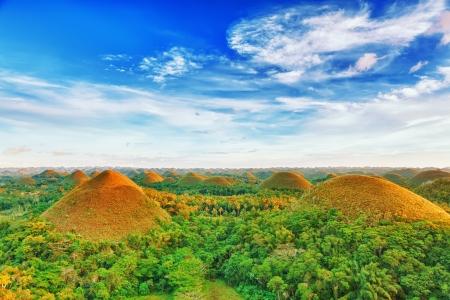 Pohled na Chocolate Hills. Bohol, Filipíny
