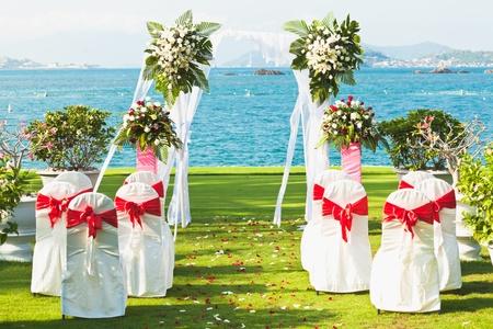 beach wedding: Gate for a wedding on a tropical beach Stock Photo