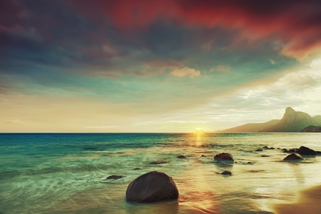 Sunrise over the sea. Con Dao. Vietnam Stock Photo - 9454004