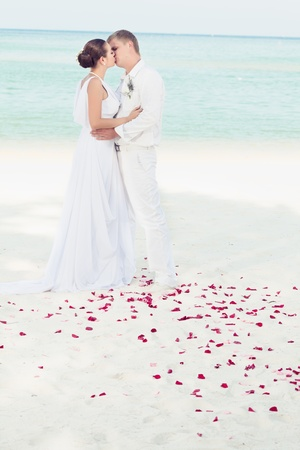 wedding beach: Bbride and groom kissing on the tropical beach Stock Photo
