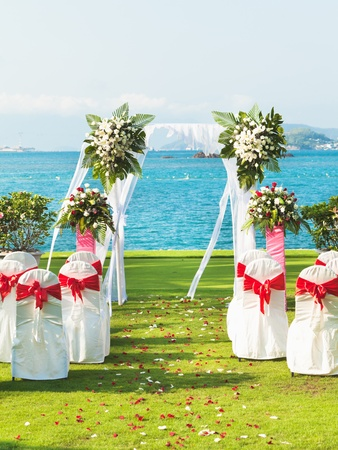 Gate for a wedding on a tropical beach Stock Photo