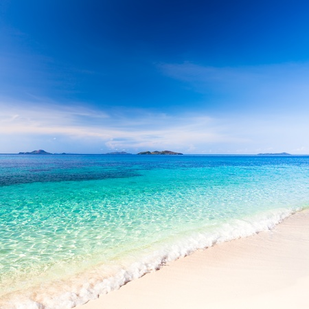 georgeous: Tropical sandy beach Malcapuya at summer sunny day Stock Photo