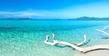 Tropical beach Malcapuya at summer sunny day. Panorama Stock Photo - 9656410