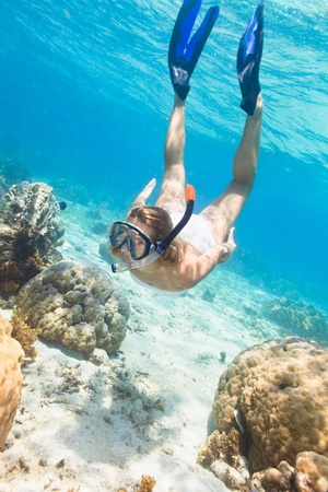 underwater woman: Beautiful woman diver swimming among the coral reef Stock Photo