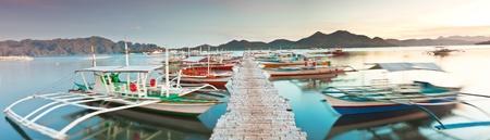 coron: Panorama of the wooden pier in Coron Stock Photo