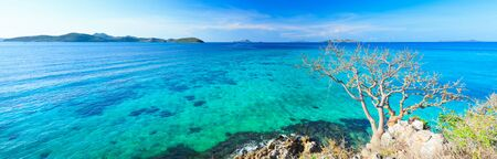 waterscape: Panorama of the tropical lagoon at summer sunny day Stock Photo