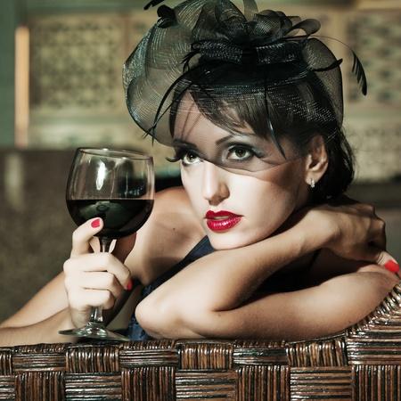 Fashion woman retro portrait in a restaurant Stock Photo - 10313185