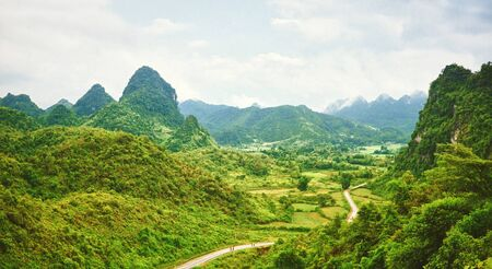 Beautiful mountain valley with road. Panorama. Vietnam Stock Photo